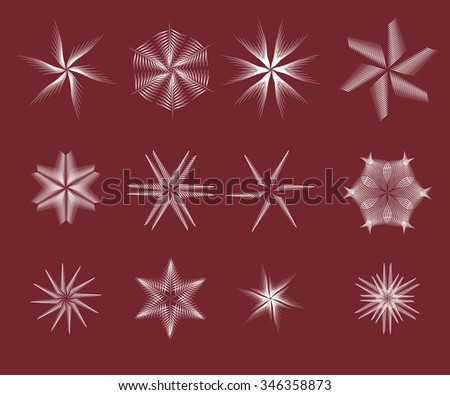 collection of abstract isolated vector snowflake or flower - stock vector
