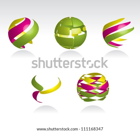 Collection of abstract spheres made from colorful stripes, vector eps10 - stock vector