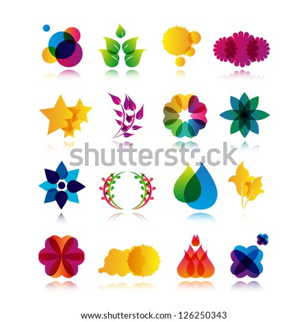 Collection Of Abstract Symbols Isolated On White Background - Vector Illustration, Graphic Design Editable For Your Design. Logo Flat Symbols - stock vector