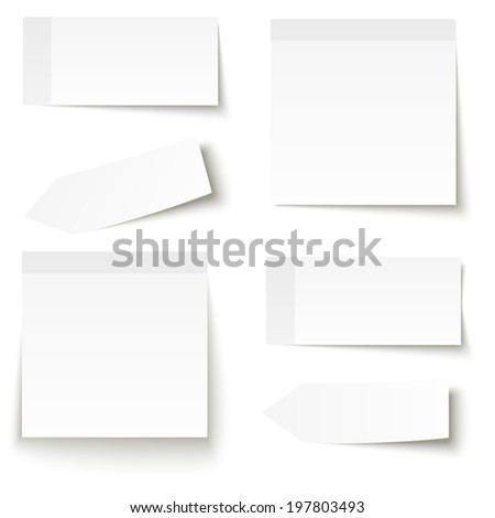 Collection of adhesive notes white - stock vector