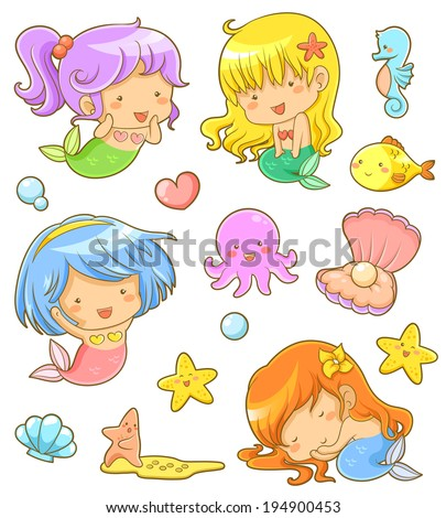 collection of adorable mermaids and related icons - stock vector