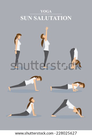 Collection of all asanas in Surya Namaskara. Vector illustration of female character in profile view isolated on grey plain background. - stock vector
