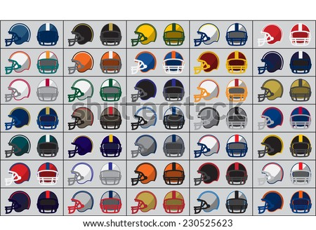 Collection of American football helmets. Vector illustration. - stock vector