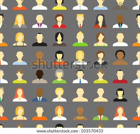 Collection of an account icons of men and women. Seamless background - stock vector
