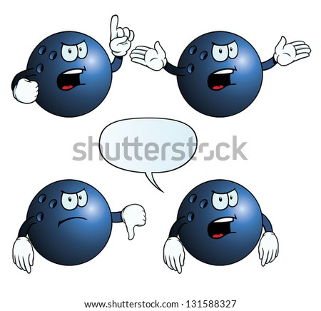 Collection of angry bowling balls with various gestures. - stock vector