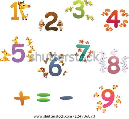 Collection of animals number for children - stock vector