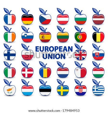 collection of apples with european union flags - stock vector