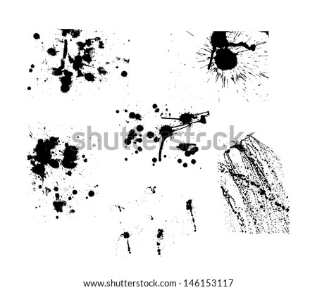 Collection of artistic ink splashes. Six big vector groups of paint splatter in set. - stock vector