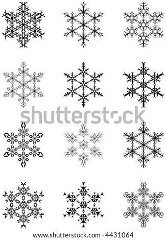 Collection of artistic snowflakes - stock vector