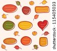 Collection of  autumn  text frames with leaves and pumpkins - stock vector