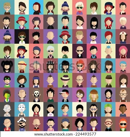 Collection of avatars1  ( 81 Man and woman Characters ) - stock vector