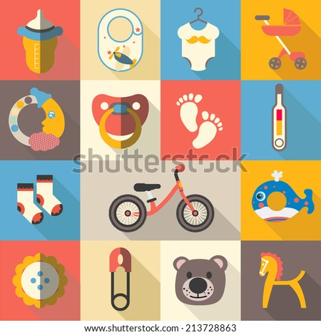 Collection of baby icons - stock vector