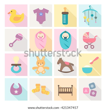 Collection of baby icons - kids, toys, accessories. Modern, flat design style. - stock vector
