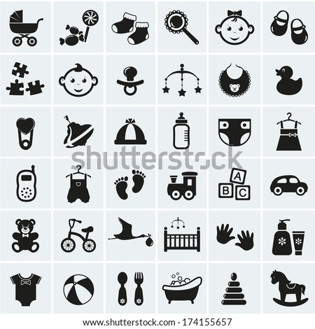 Collection of 25 baby icons. Vector illustration. - stock vector
