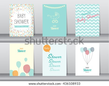 Collection of  baby shower invitation card ,Vector illustrations - stock vector