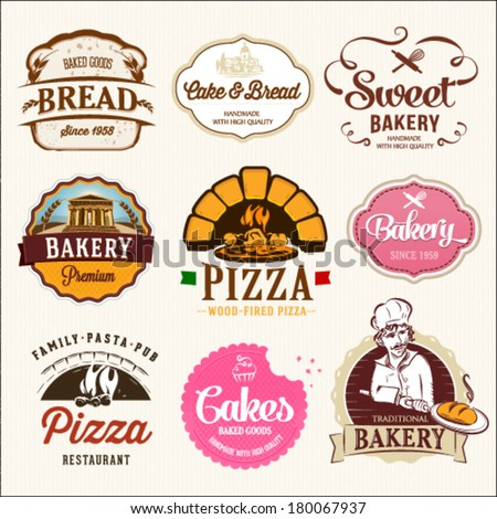 Collection of BAKERY, CAKES and PIZZA badges and labels  - stock vector