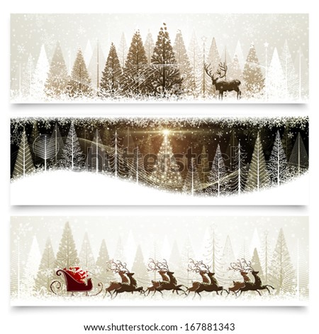 Collection of banners with Christmas landscapes - stock vector