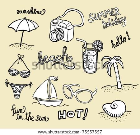 Collection of beach doodles - sketches - stock vector