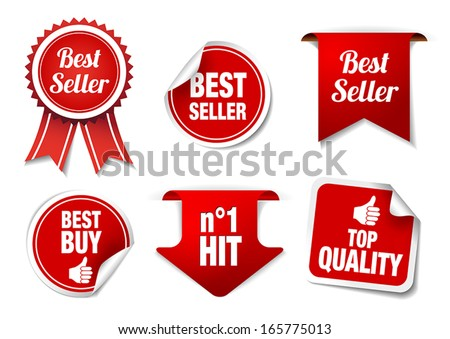 "Collection of ""best seller"" badges and labels. - stock vector"