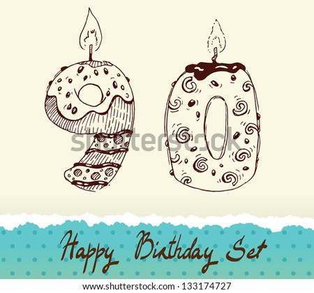 Collection of Birthday Candles: 9 and 0 - stock vector