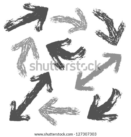 Collection of black and grey painted arrows. Vector set of grunge arrows.Isolated on white background. - stock vector