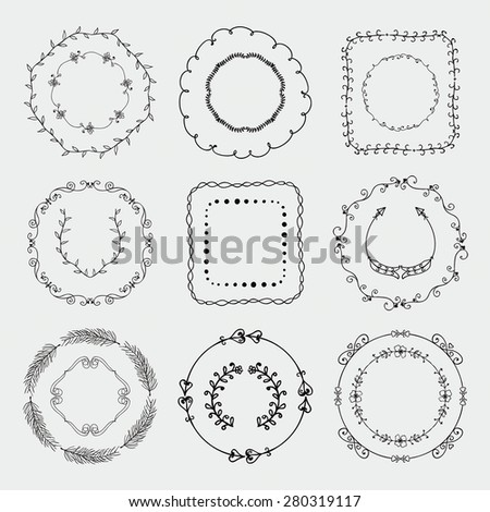 Collection of Black Artistic Hand Sketched Decorative Doodle Borders and Frames. Floral Design Elements. Hand Drawn Vector Illustration. Pattern Brashes - stock vector