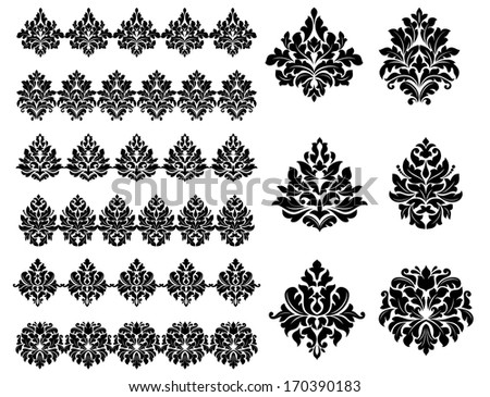 Collection of black silhouetted floral and foliate design elements as arabesques. Rasterized version also available in gallery - stock vector