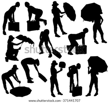 Collection of black silhouettes of girl with umbrella and suitcase on a white background. - stock vector