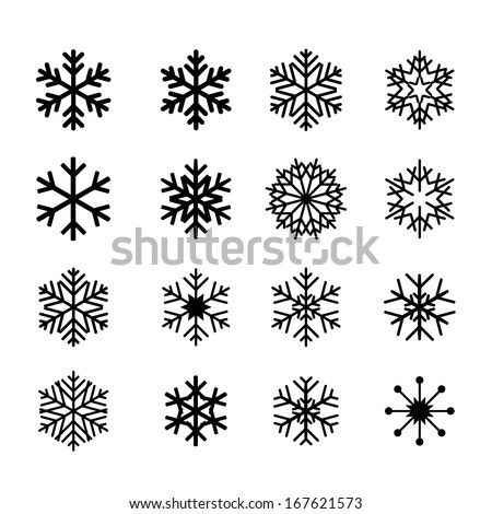 collection of black snowflakes - stock vector