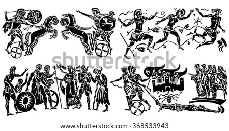 Collection of black tattoos in the Greek style on white background. - stock vector