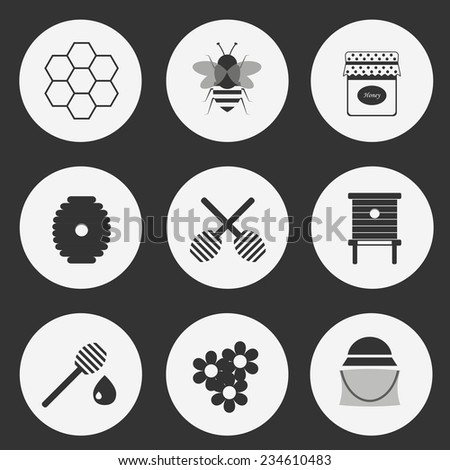 Collection of black-white beekeeping icons for your design - stock vector