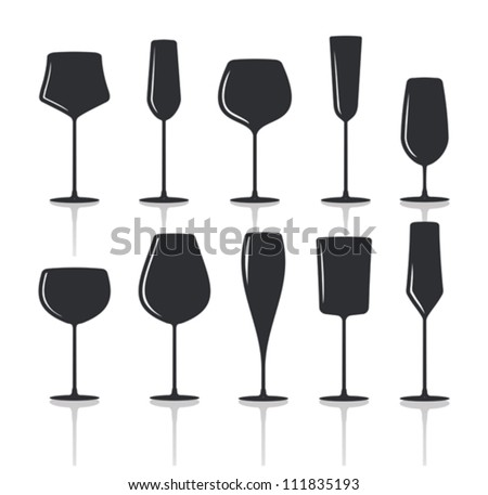 collection of black wine glasses silhouettes - stock vector