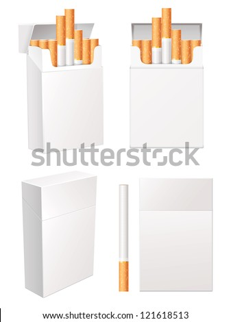 Collection of blank cigarette pack. Isolated on white background. Vector illustration eps 10. Set - stock vector
