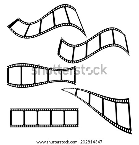 Collection of blank cinema film strip frames with different shape effect and empty space for your movie photograph and picture. EPS 10 vector illustration isolated on white background. - stock vector