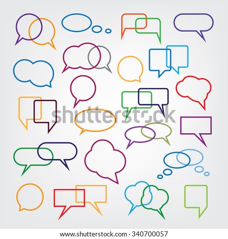 Collection of Blank Empty Colorful Speech And Thought Bubble Vector Designs - stock vector