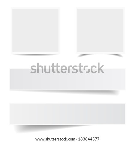 Collection of blank paper frames with different shadow effect and empty copy space for your advertising, photograph and picture. EPS 10 vector illustration isolated on white background. - stock vector