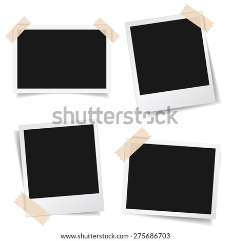 Collection of blank photo frames with adhesive tape, different shadow effects and empty space for your photograph and picture. EPS 10 vector illustration isolated on white background. - stock vector