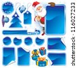 Collection of blue stickers and Christmas design elements - stock vector