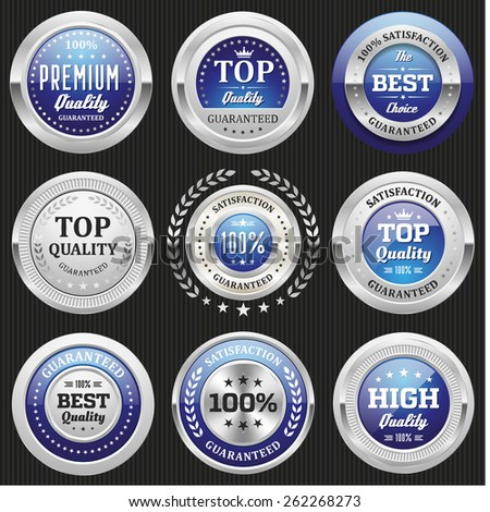 Collection of blue top quality badges with silver border - stock vector