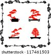 Collection of bonsai silhouettes - stock vector