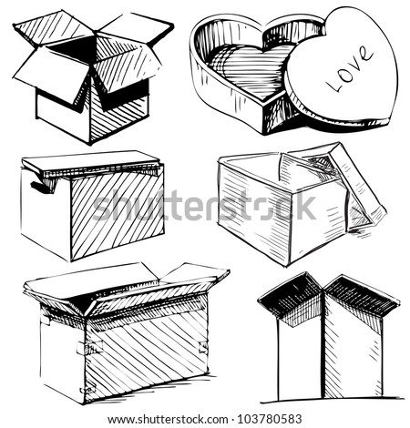 Collection of box icons isolated on white background. Hand drawing sketch vector illustration - stock vector
