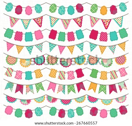Collection of Bright and Colorful Wedding, Holiday, Birthday or Party Bunting - stock vector