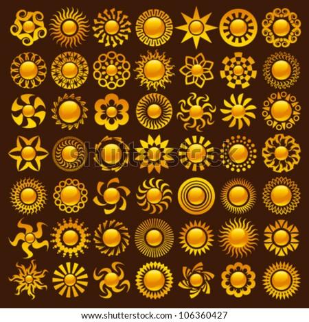 Collection of bright colorful sun logo designs - stock vector