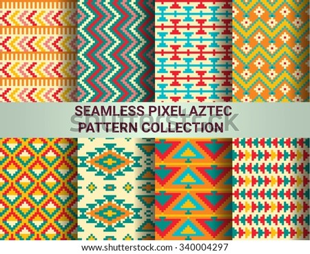 Collection of bright seamless pixel patterns in tribal style. Aztec geometric triangle and chevron patterns - stock vector