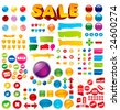 Collection of 100+ brightly colored, glossy elements for your business artwork. - stock vector
