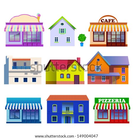 collection of buildings - stock vector