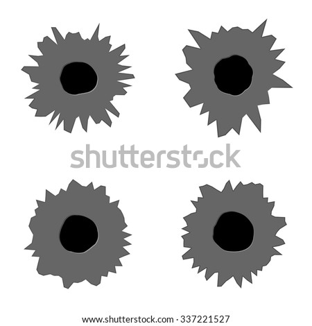Collection of bullet holes on white background - vector illustration - stock vector