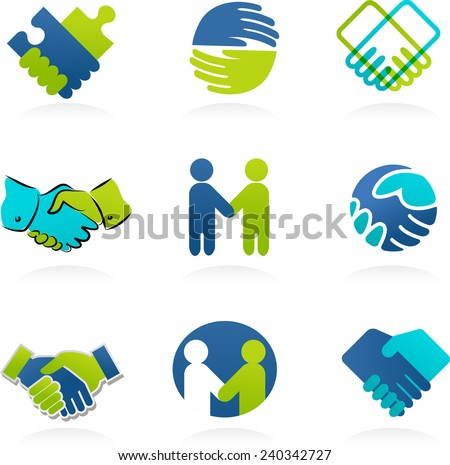 collection of business handshake and partnership icons  - stock vector