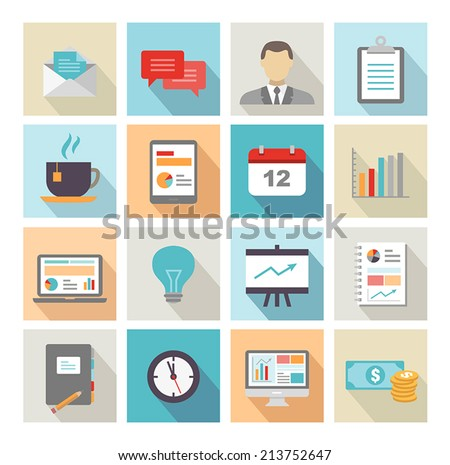Collection of business icons in modern flat design style - stock vector