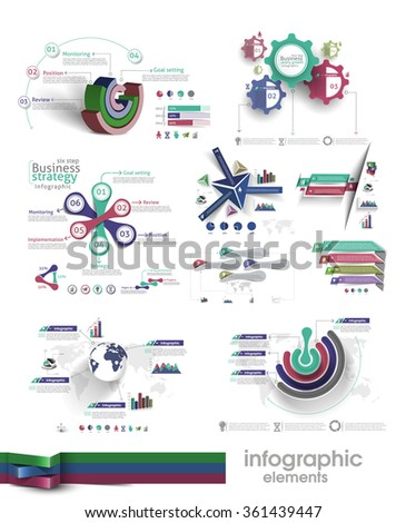 Collection of Business Infographic Design. - stock vector
